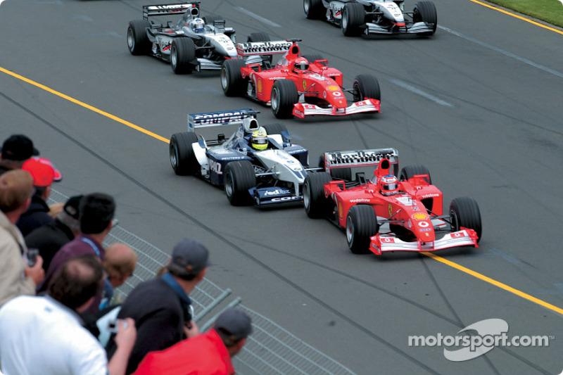 The start: Rubens Barrichello, Ralf Schumacher and Michael Schumacher