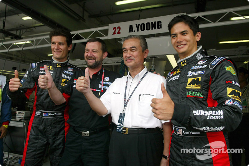 Mark Webber, Paul Stoddart, the King of Malaysia and Alex Yoong