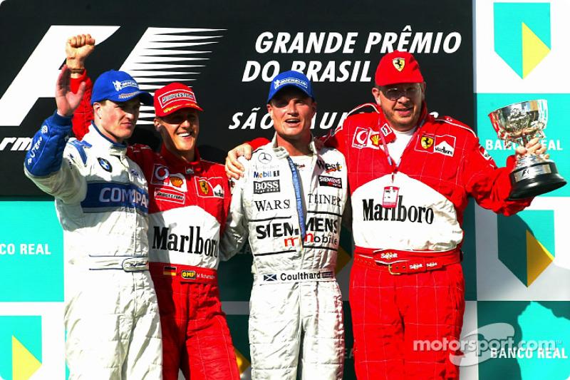 2002: 1. Michael Schumacher, 2. Ralf Schumacher, 3. David Coulthard