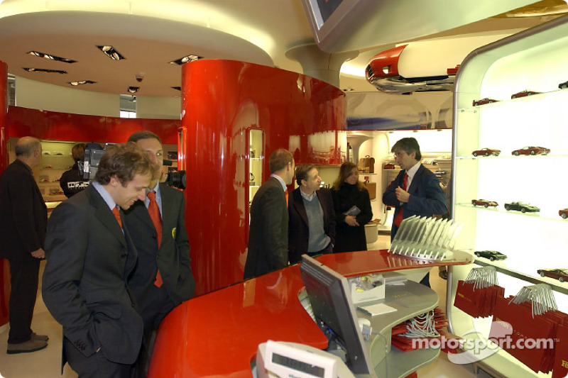 Official opening of Ferrari Store, Maranello: Luca Badoer and Luciano Burti