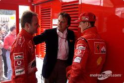 Rubens Barrichello, Luca di Montezemelo et Michael Schumacher