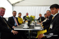 Eddie Jordan and Takuma Sato having lunch with Imperial Highness of Japan princess Akiko and Japan Ambassador in London Mr Orita
