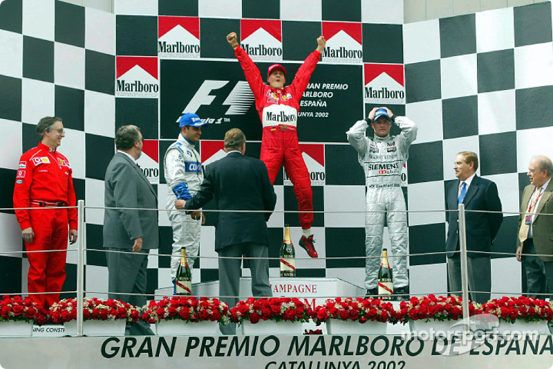 2002: 1. Michael Schumacher, 2. Juan Pablo Montoya, 3. David Coulthard