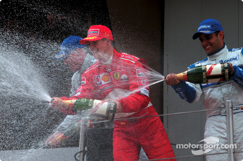 Champagne for Michael Schumacher, Juan Pablo Montoya and David Coulthard