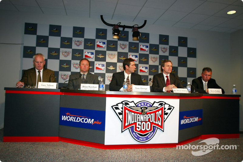 Gary Nelson-NASCAR, Brian Barnhart-VP of Operations IRL, Tony George-CEO Indianapolis Motor ...