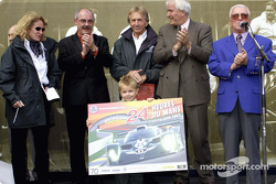 Derek and Sebastian Bell with the new Le Mans poster