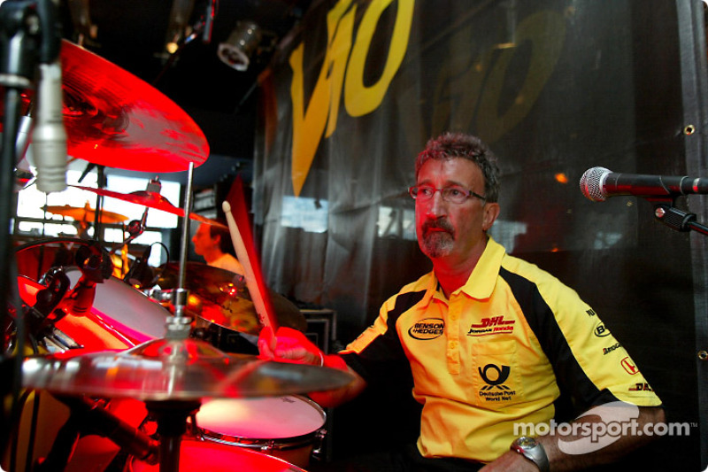Eddie Jordan playing drums with his band, V10