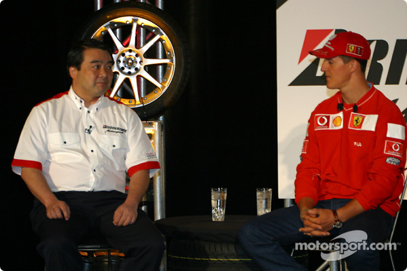 Bridgestone Motorsport / Scuderia Ferrari press conference: Hirohide Hamashima and Michael Schumacher