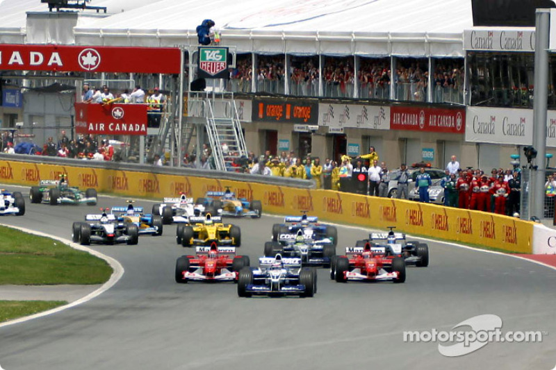 The start: Juan Pablo Montoya leading Rubens Barrichello and Michael Schumacher