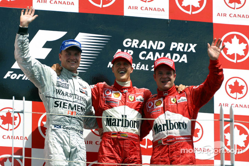 2002 - 1. Michael Schumacher, 2. David Coulthard, 3. Rubens Barrichello