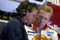 Ricky Craven and Mike Beam checking the set up notes at Michigan