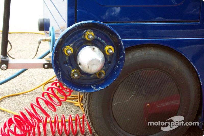 Rueda de práactica para el cambio de llantas en el vagón
