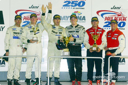 The overall and Sports Racing Prototype podium finishers at the Jani-King Paul Revere 250