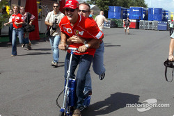 Michael Schumacher and Rubens Barrichello having fun