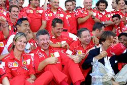 Michael Schumacher, Jean Todt, Ross Brawn, Luca di Montezemelo and Team Ferrari celebrating