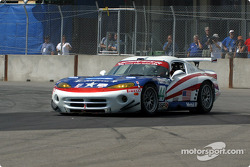 First corner: the American Viperacing Dodge Viper going back on the track