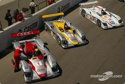 The three Audis on the starting grid: Frank Biela, Rinaldo Capello and Stefan Johansson