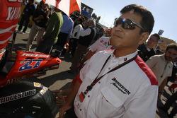 Bridgestone technician on the starting grid