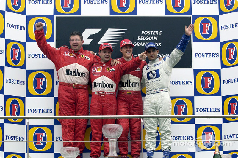 2002: 1. Михаэль Шумахер, 2. Рубенс Баррикелло, 3. Хуан-Пабло Монтойя