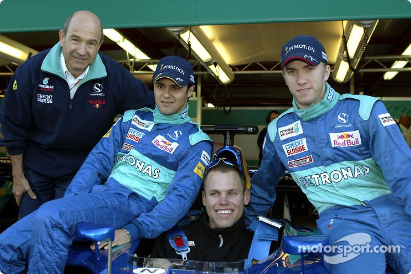 Peter Sauber, Felipe Massa, Nick Heidfeld and guest