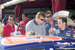 Rusty Wallace takes a pre-race look at the car