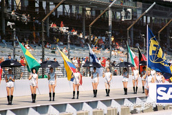 Grid girls arrive for pre-race ceremony