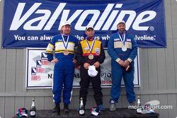 The podium: race winner Elivan Goulart with Douglas Marsh and Kenny Price
