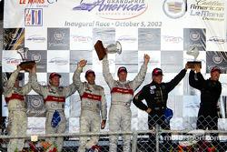The podium: race winners Emanuele Pirro and Frank Biela with Max Angelelli, J.J. Lehto, Tom Kristens