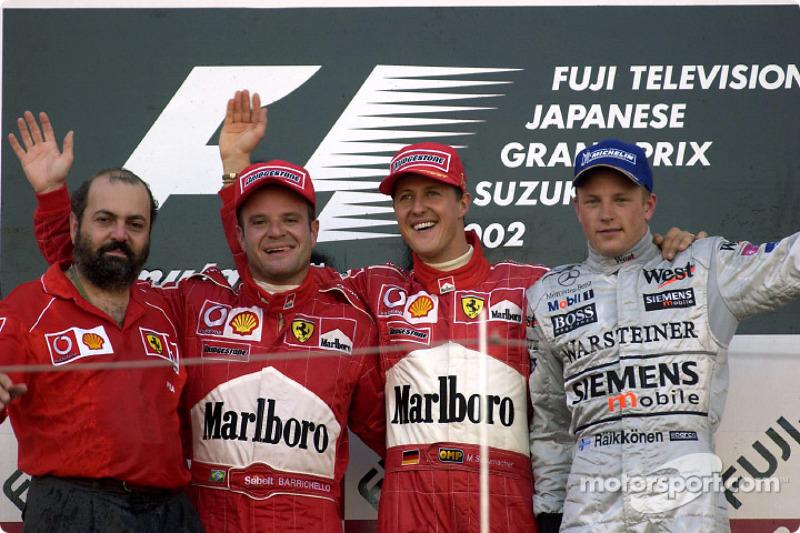 2002: 1. Michael Schumacher, 2. Rubens Barrichello, 3. Kimi Räikkönen
