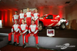 Nissan Rally Raid Team launch: Nissan drivers Giniel De Villiers, Pascal Maimon, Kenjiro Shinozuka, Thierry Delli-Zotti, Ari Vatanen, Thierry De Lavergne, Jacky Dubois, Khalifa Al Mutaiwei and Philippe Monnet