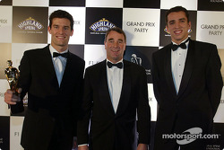 Formula 1 young guns Mark Webber and Justin Wilson pose with ex-F1 driver Nigel Mansell