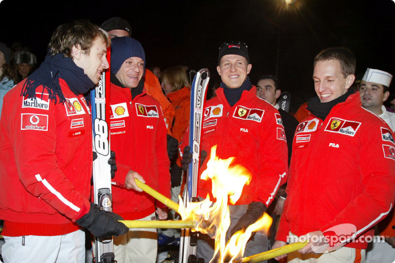Torchlight procession: Luca Badoer, Rubens Barrichello, Michael Schumacher and Luciano Burti