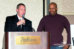 Reggie Showers being introduced by Ted Yerzyk; Reggie Showers, a double amputee gave a very inspiring presentation