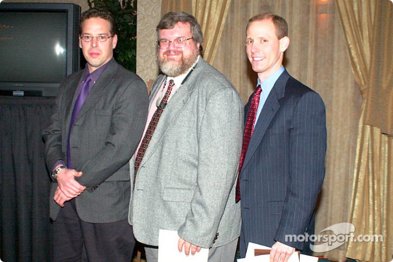 Three of the Motorsport.com winners, Tom Chemris, Greg Gage and Patrick Jennings (Internet Race Report category)