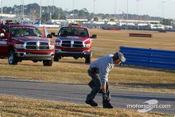 Safety crew checks track for debris