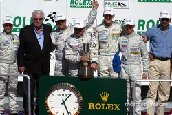 The podium: first overall and GT winner #66 The Racers Group Porsche GT3 RS: Kevin Buckler, Michael Schrom, Timo Bernhard, Jorg Bergmeister