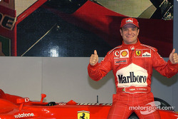 Rubens Barrichello with the new Ferrari F2003-GA