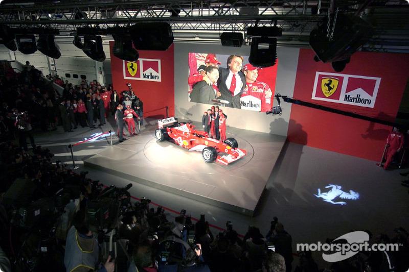 Luca di Montezemelo, Jean Todt, Michael Schumacher and Rubens Barrichello with the new Ferrari F2003-GA