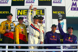 The podium: Daytona Prototype and overall winners Hurley Haywood and J.C. France, with Darren Law, Shawn Bayliff, David Donohue and Mike Borkowski
