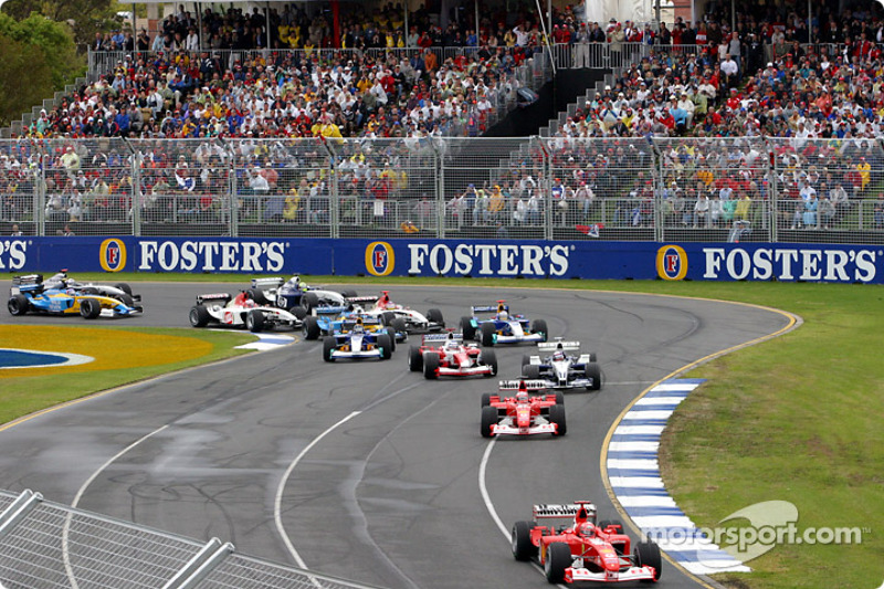 First corner: Michael Schumacher leads Rubens Barrichello