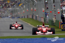 Michael Schumacher leads Rubens Barrichello