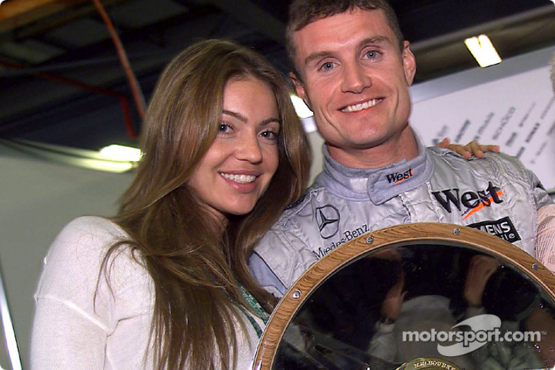 David Coulthard and girlfriend Simone celebrate win