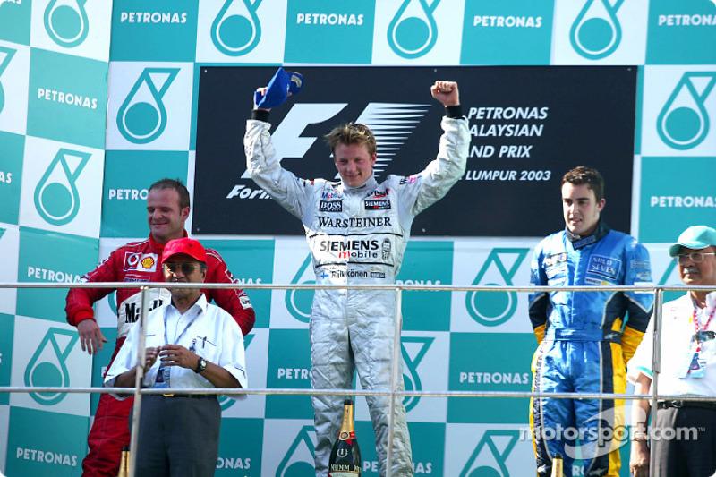 Podio: Kimi Raikkonen, Rubens Barrichello e Fernando Alonso