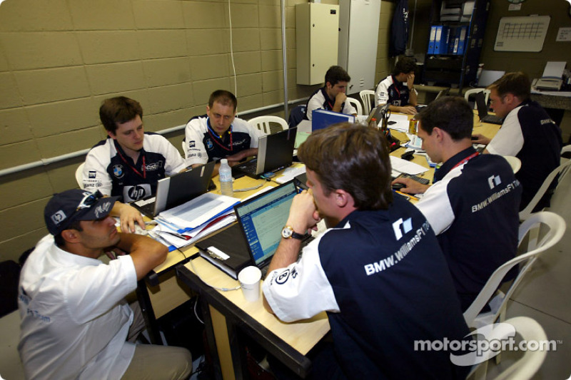 Juan Pablo Montoya discusses with Williams-BMW engineers