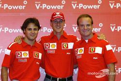 Shell Pressekonferenz: Felipe Massa, Michael Schumacher und Rubens Barrichello