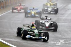 The start: Mark Webber ahead of Kimi Raikkonen