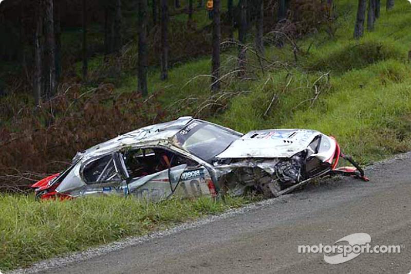 Armin Schwarz' wrecked car
