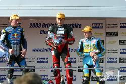 The podium: race winner Shane Byrne, Sean Emmett and John Reynolds