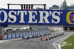 The starting grid: Michael Schumacher and Ralf Schumacher await the green lights