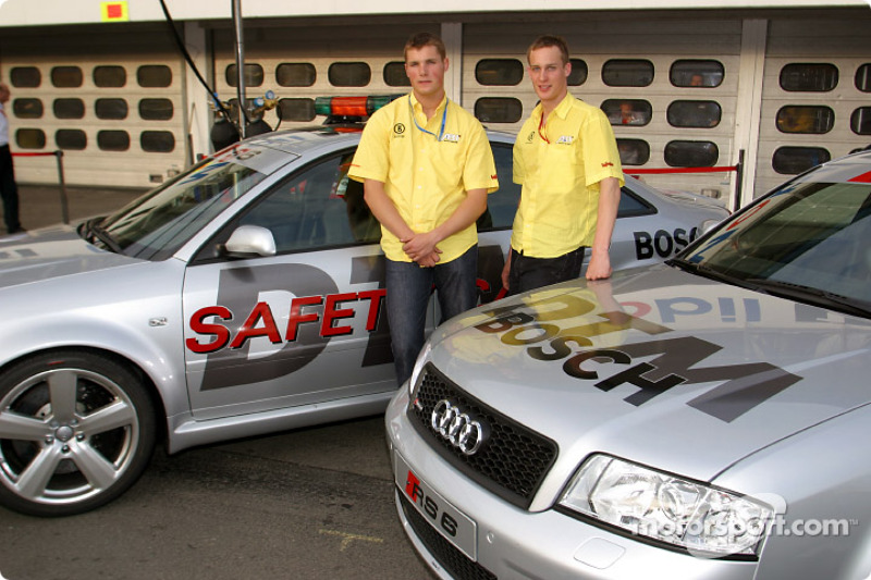Audi Juniors Martin Tomczyk and Peter Terting with the Audi RS6 Safety Cars